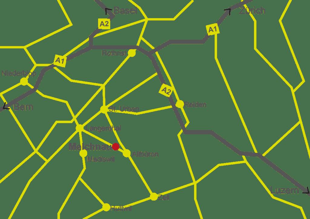 Ortsplan/Anfahrtsplan Gemeinde Melchnau